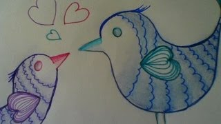 Cute and easy drawing: Love birds - step by step.