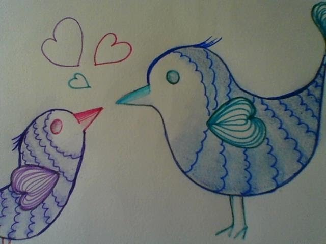 Cute And Easy Drawing Love Birds Step By Step