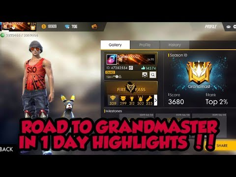 SEASON 10 ROAD TO GRANDMASTER IN 1 DAY HIGHLIGHTS !! Free Fire Battlegrounds !!!