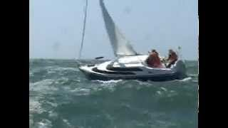 MacGregor 26 sailing in 50 mph winds and big waves