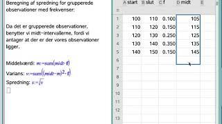 Spredning beregnet for grupperet obseravtionssæt ud fra frekvenser