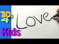 How to turn words LOVE into a Cartoon for kids - How to draw doodle art on paper #1