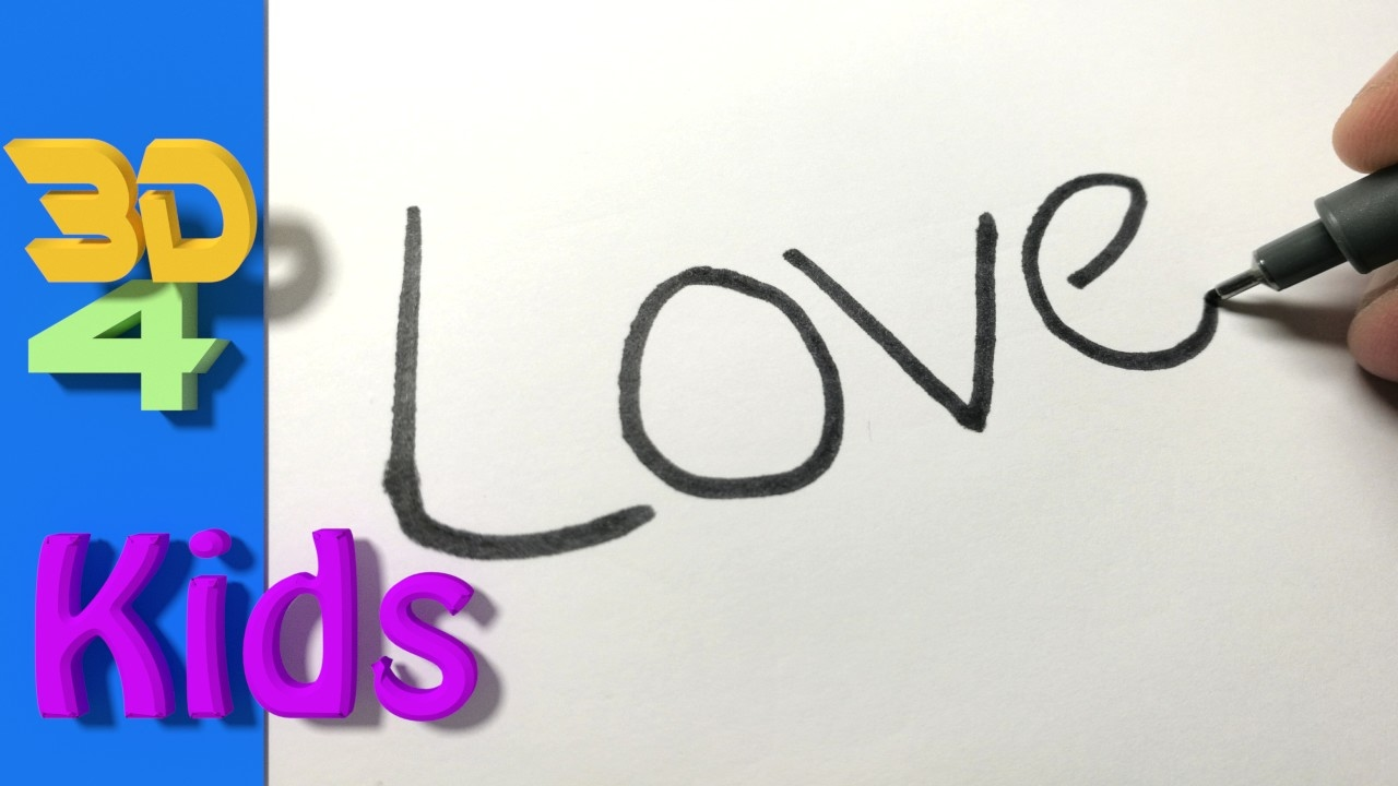 How To Turn Words Love Into A Cartoon For Kids How To Draw Doodle