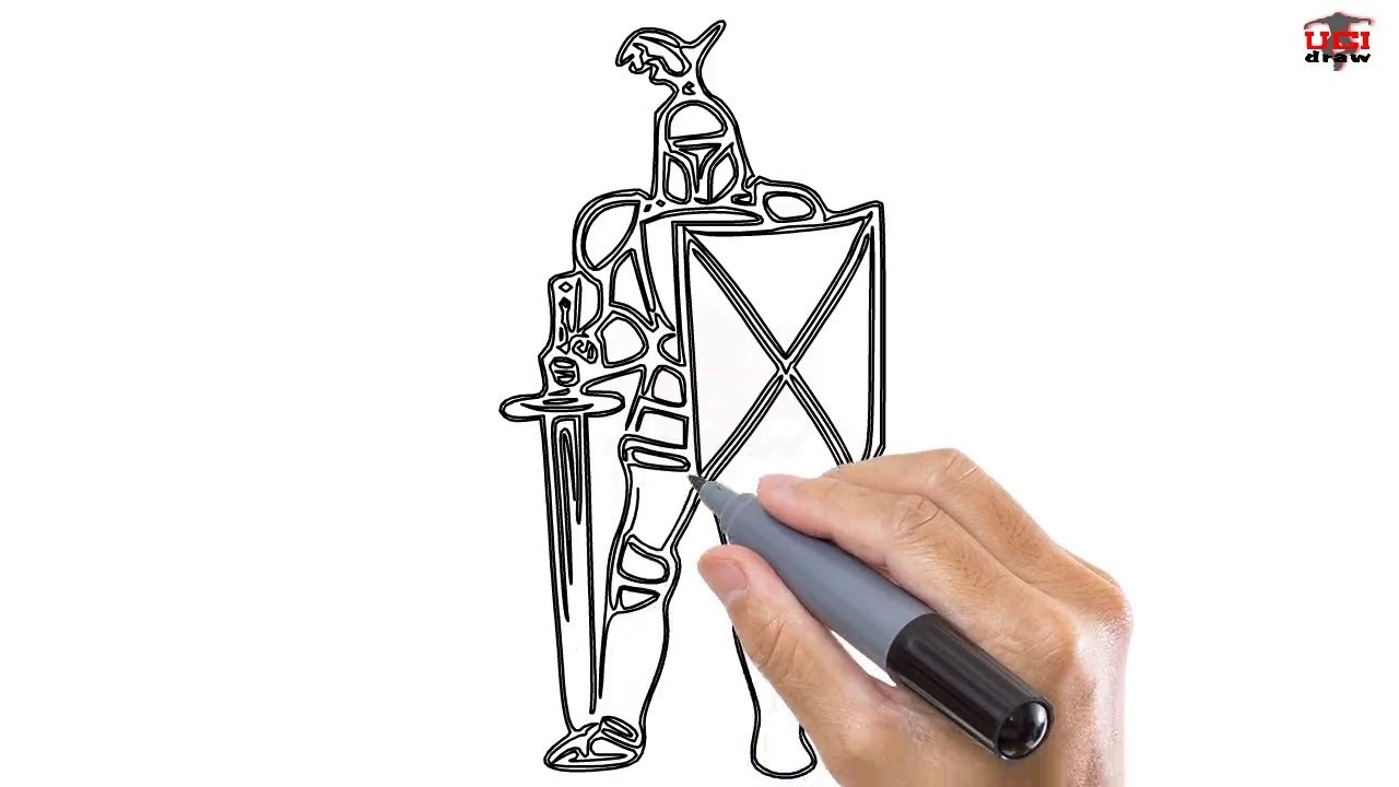 How To Draw A Knight Easy Step By Step Drawing Tutorials For Kids Ucidraw Youtube