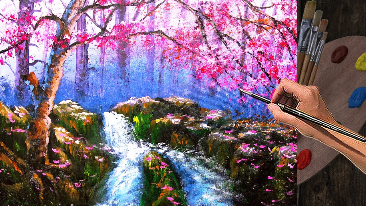 Step by step Waterfall and Cherry Blossom Painting Tutorial with Acrylics