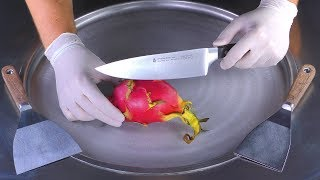 ASMR - Dragon Fruit Ice Cream Rolls  oddly satisfying Pitaya fried Ice Cream with scratching Sounds