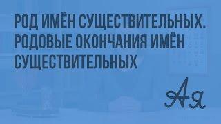 Род имён существительных. Родовые окончания имён существительных. Видеоурок  по русскому языку