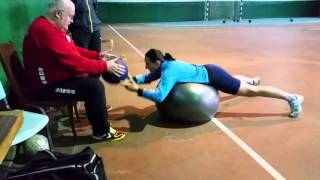 Balance workout with heavy ball