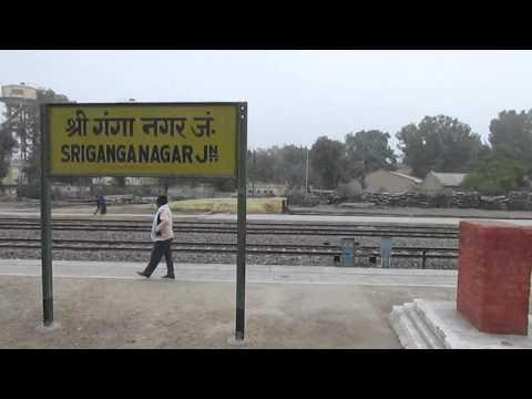 12455 Delhi Sarai Rohilla-Bikaner SF express departing Shri Ganganagar!