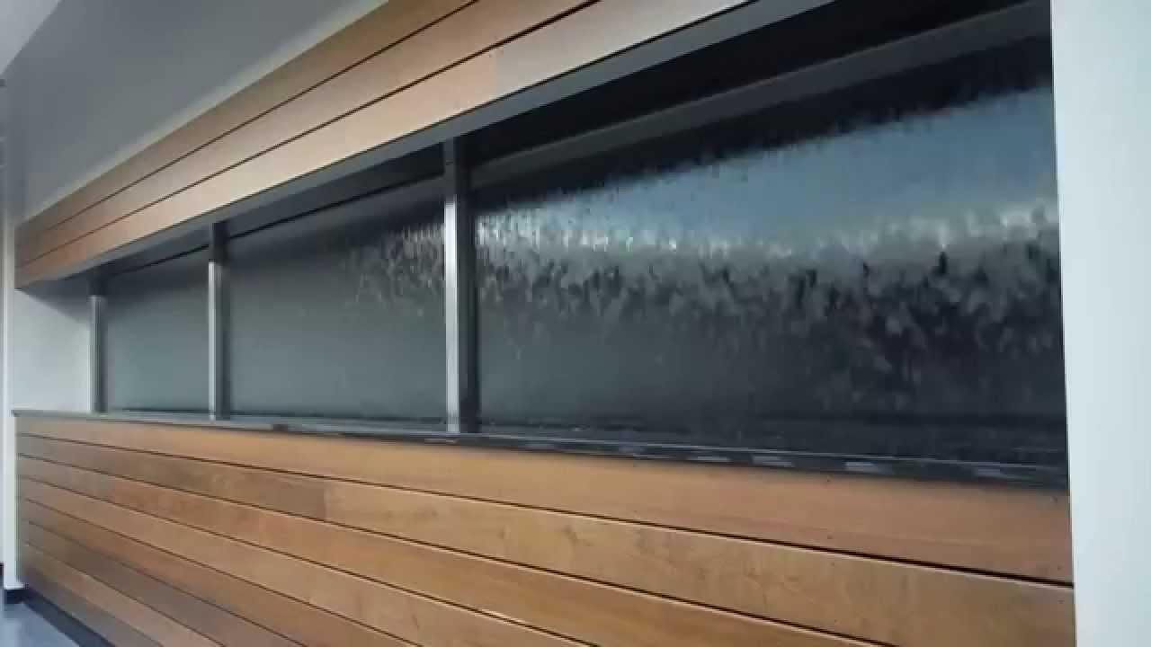Glass Water Wall Waterfall Built Into Window Opening