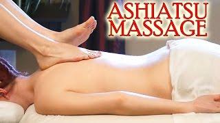 Back Massage Using Feet! Ashiatsu Barefoot Deep Tissue Massage Techniques