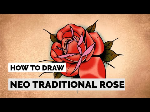 How To Draw Neo Traditional Rose Tattoo Drawing Tutorial Youtube