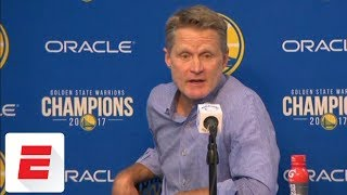 Steve Kerr gives update on Stephen Curry's knee injury after JaVale McGee fall | ESPN