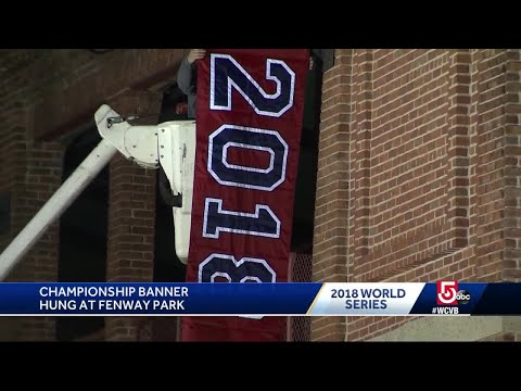 Championship Banner Hung At Fenway