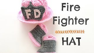 How to Crochet Fire Fighter Hat (0-3 months)
