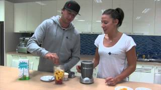 Chaz Mostert And Madi Robinson Make Aaron Royle's Mango Banana Smoothie