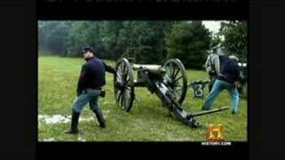 Civil War 12 pound cannon into 50 gallon drums (Antietam)