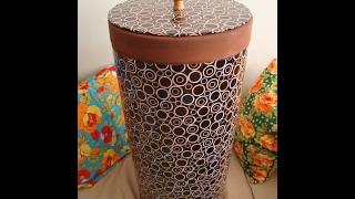 Reciclando um tambor de papelão para roupas sujas, fácil de fazer