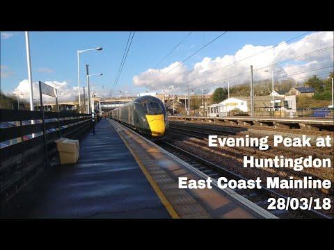 Evening Peak Trains At Huntingdon, ECML   28/03/18