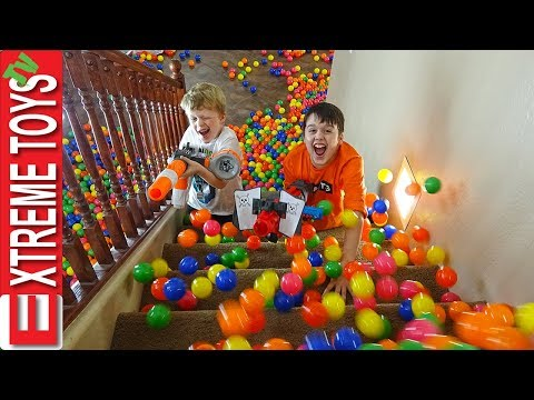 Sneak Attack Squad Training Part 3! Nerf Battle with the Ball Pit Balls.