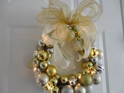 Diy Lighted Ornament Wreath Youtube