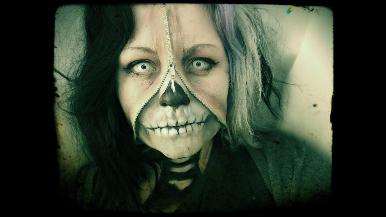 Halloween: Zipped skull face - YouTube