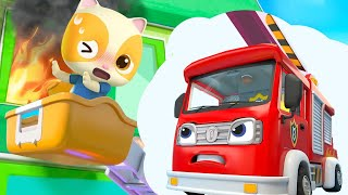 Fire Truck's Rescue Mission | Police Car | Learning Vehicles | Nursery Rhymes | Kids Songs | BabyBus