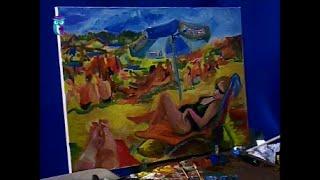 "Уроки рисования (№ 130) масляными красками. Рисуем картину ""На пляже"""