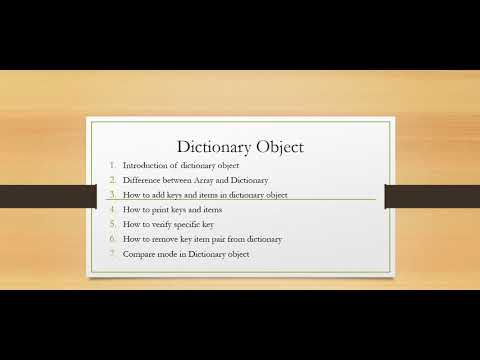 Dictionary Object In Vbscript