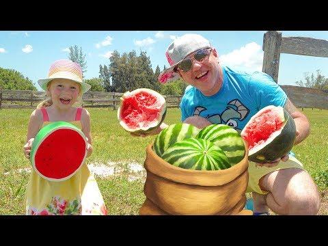 Настя и папа играют на ферме