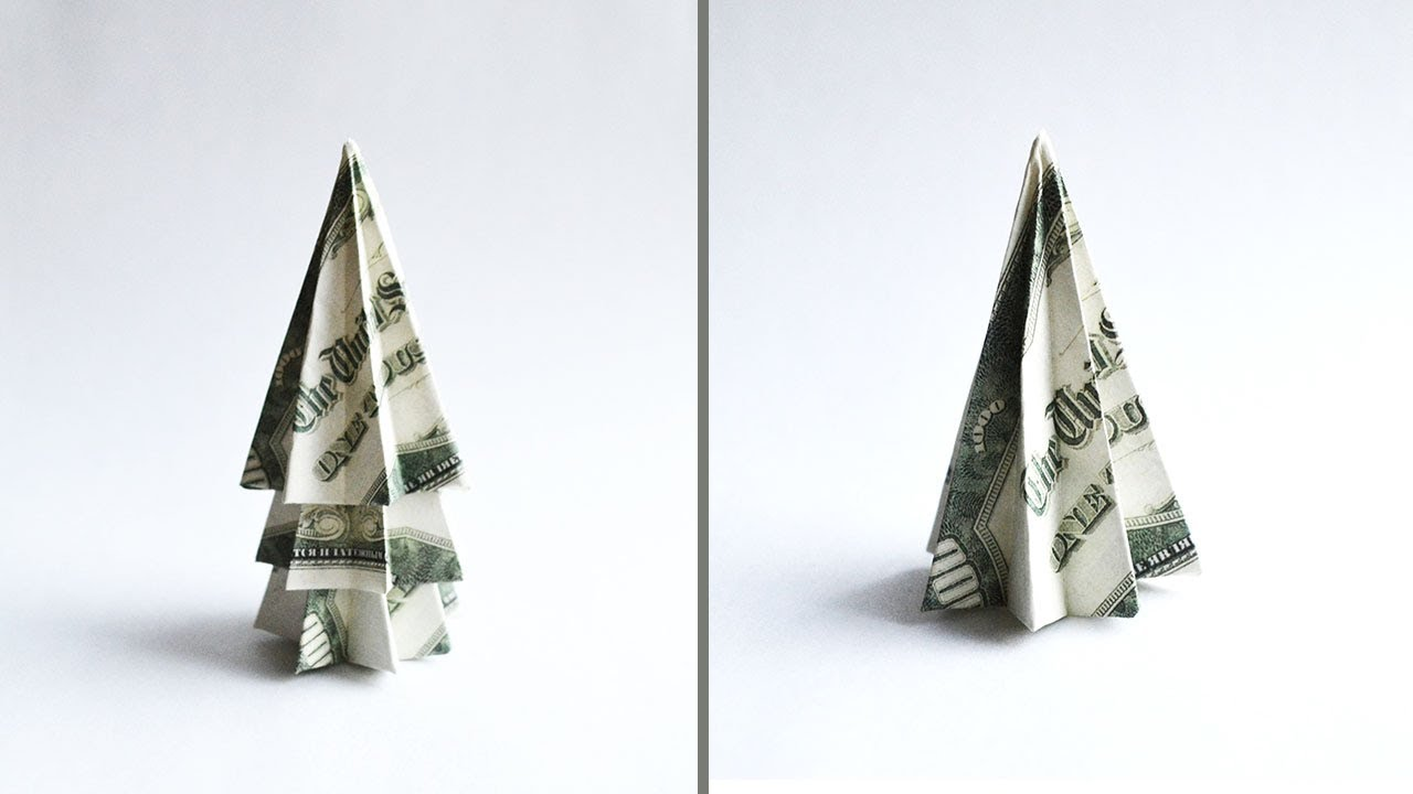Very EASY Money Christmas TREE Origami Dollar Tutorial DIY