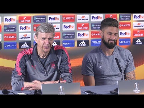 Arsene Wenger & Olivier Giroud Pre-Match Press Conference - Arsenal v FC Koln - Europa League