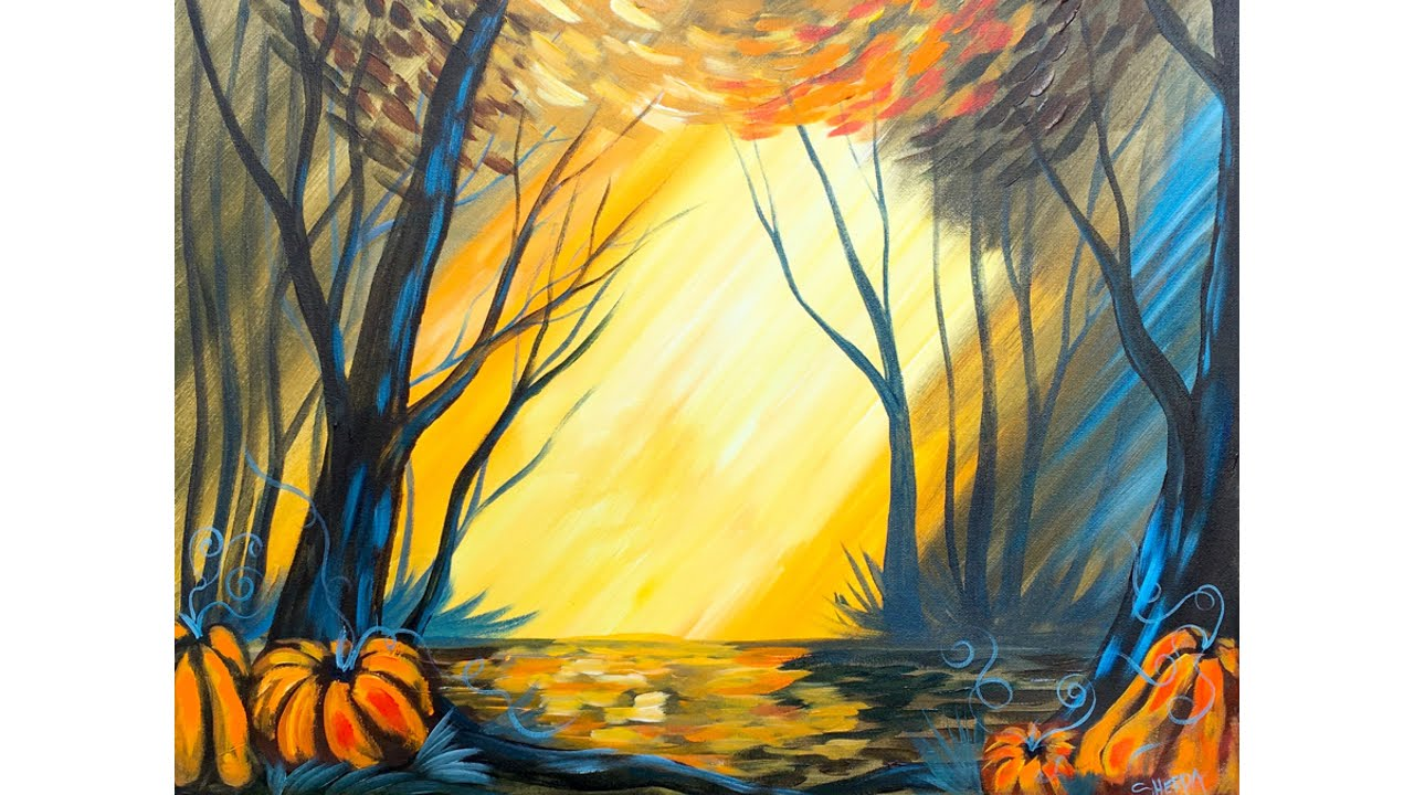 Fall Forest With Pumpkins Step By Step Acrylic Beginners