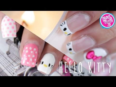 Hello Kitty Nail Art Tutorial / 2 Diseños