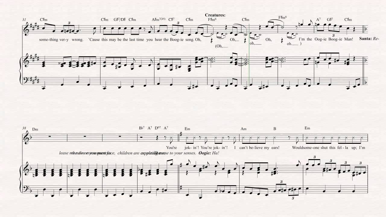 flute oogie boogies song the nightmare before christmas sheet music chords vocals youtube