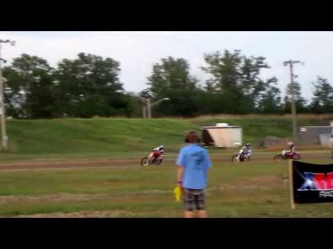 Different view: Motorcycle dirt track race Mid-America Speedway open class. 8/17/2013