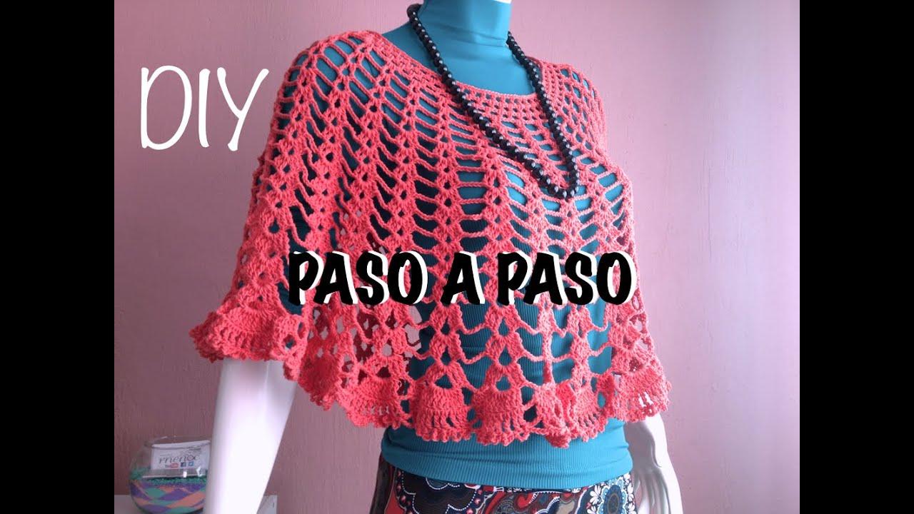 Capa Poncho Mañanita #Crochet #Ganchillo Cape Lay out #Diy - YouTube