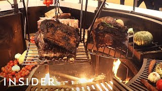 22-Pound Ribs Cooked Over Indoor Fire Pit