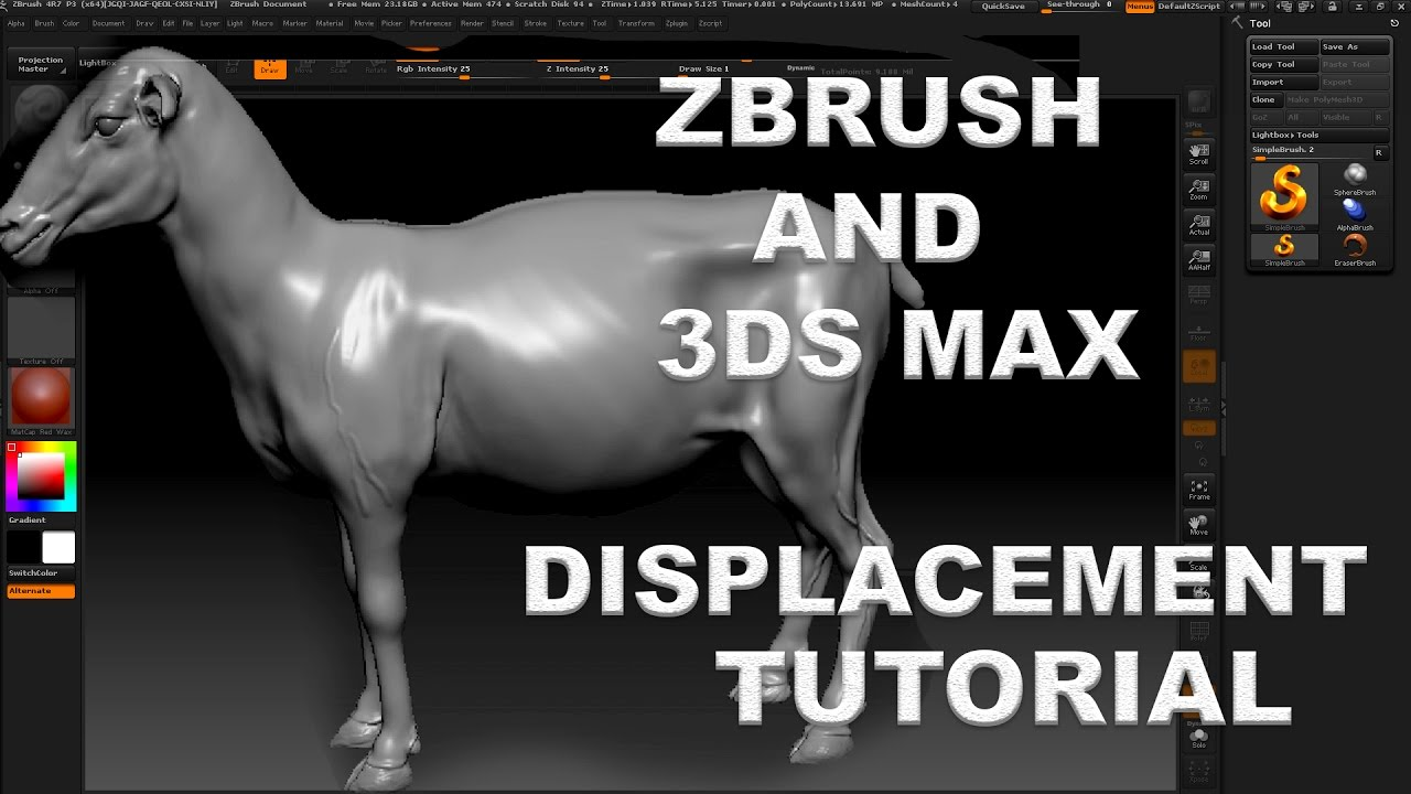 EASY ZBRUSH - CREATING DISPLACE MAP IN ZBRUSH 4R7/ SETUP MAP DISPLACEMENT  IN 3DS MAX