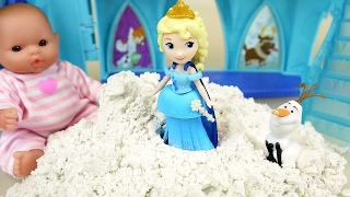 Baby doll and Snow Frozen Elsa castle toys play