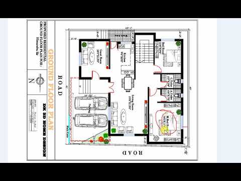 43x42 Ft Double Story House Plan With 2 Car Parking Area Youtube