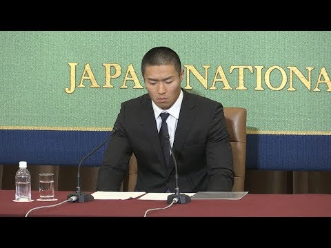 【会見全編】アメフト反則タックル問題で日大選手が記者会見(2018年5月22日)