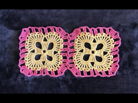 How To Crochet And Join Square Flower Motifs Pattern 653by