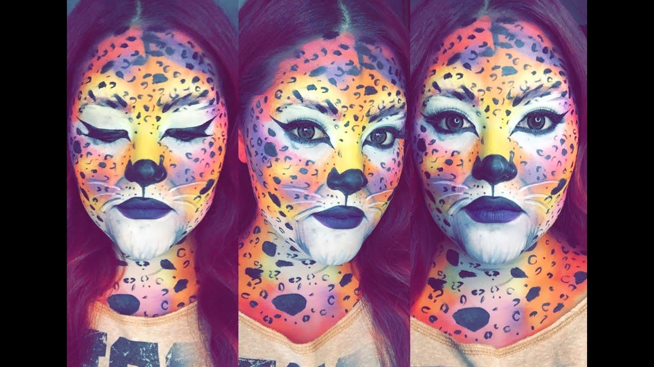 Lisa Frank Neon Cheetah Halloween Makeup - YouTube