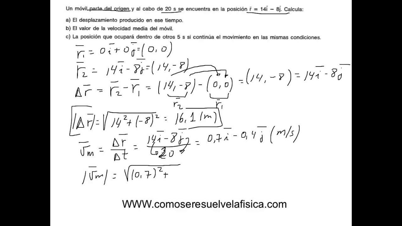Ejercicio resuelto de vectores, desplazamiento y velocidad media ...