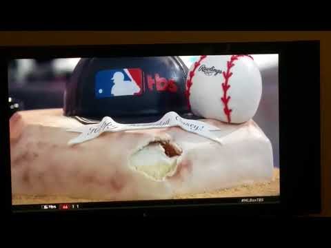 Shaq gives Casey Stern a birthday cake and shows off his pitching on TBS.