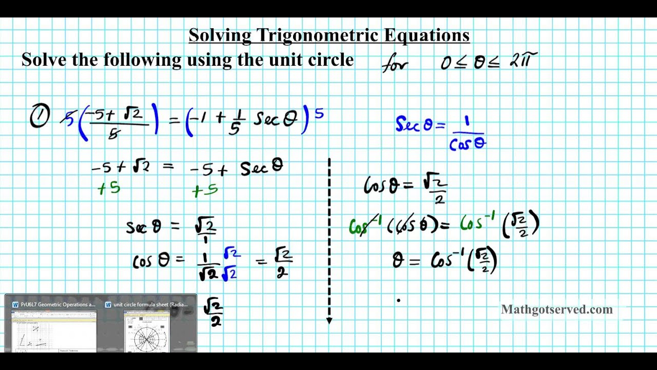 Solving Trigonometric Equations Algebraically Worksheet