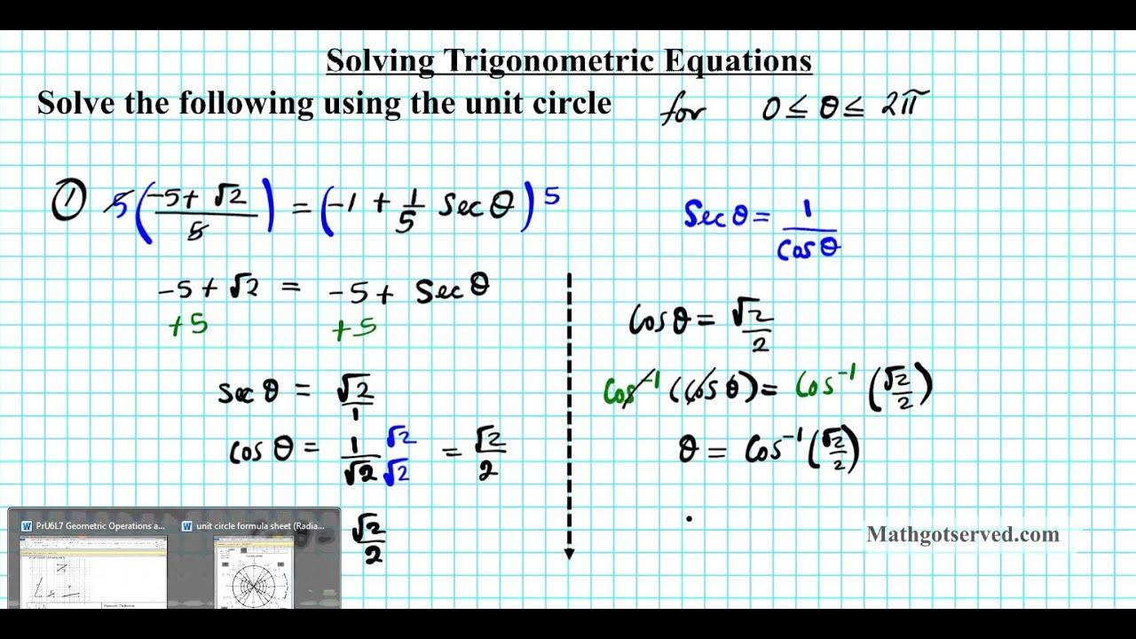 Solving Trigonometric Equations Algebraically Worksheet