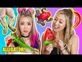 GUMMY FOOD VS REAL FOOD! Challenge with LaurDIY & Alex Wassabi! Eating Gross Giant Frogs, Alligators