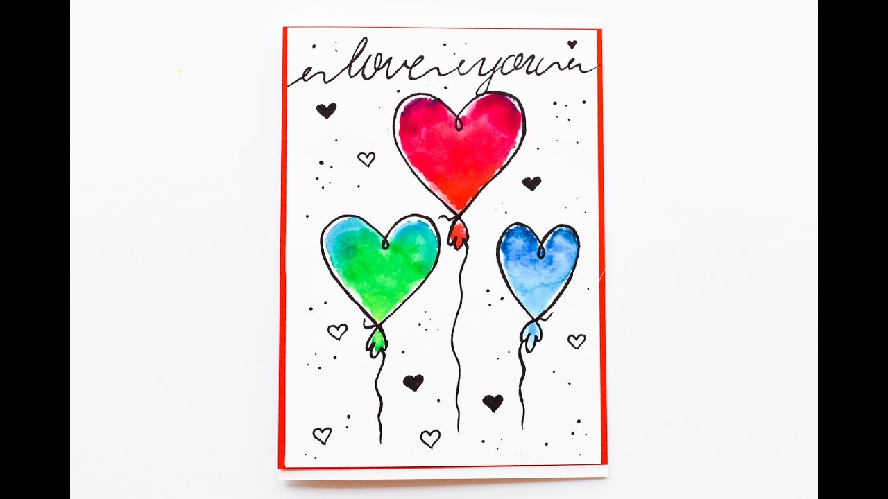 How to make easy greeting card watercolor cartoon heart step by how to make easy greeting card watercolor cartoon heart step by step kartka akwarela m4hsunfo